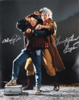 """Michael J. Fox & Christopher Lloyd Signed """"Back to The Future"""" 16x20 Photo Inscribed """"Roads - Where we're going we don't need roads!"""" (AutographCOA COA) at PristineAuction.com"""