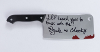"""Ed Gale Signed """"Child's Play"""" Replica Plastic Meat Cleaver Inscribed """"I'll Teach You To **** With Me!"""" & """"As Chucky"""" (AutographCOA COA) at PristineAuction.com"""
