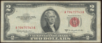1953-C $2 Two Dollar U.S. National Currency Red Seal Bank Note at PristineAuction.com