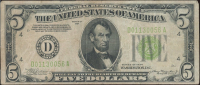 1934 $5 Five Dollars Green Seal Silver Certificate Bank Note at PristineAuction.com