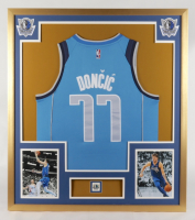 Luka Doncic 35x43 Custom Framed Jersey Display with Mavericks Pin at PristineAuction.com