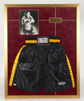 Mike Tyson Signed 28x35 Custom Framed Boxing Trunks Display (PSA COA) at PristineAuction.com