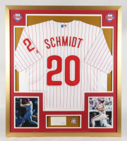 Mike Schmidt Signed Phillies 32.75x36.75 Custom Framed Cut Display with 1980 World Series Pin (PSA COA) at PristineAuction.com
