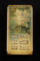 10 Gram Canadian Maple Leafs .999 Gold Bar at PristineAuction.com
