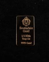 1/100 oz Scottsdale Mint Gold Bullion Bar at PristineAuction.com