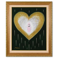 """David Ashouri Signed """"Two Way Love"""" 31x37 Custom Framed Original Acrylic Painting on Canvas with Stones at PristineAuction.com"""