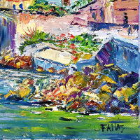 """Elliot Fallas Signed """"Along the Shore"""" 20x16 Original Oil Painting on Canvas at PristineAuction.com"""