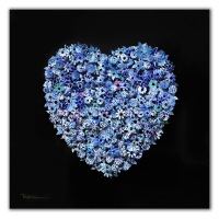 "Patricia Govezensky Signed ""Heart"" 23x23 Original 3D Metal Art on Wood at PristineAuction.com"