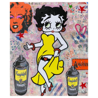 """Jozza Signed """"Yellow Dress"""" 48x40 Original Mixed Media on Canvas at PristineAuction.com"""