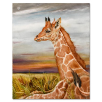 """Martin Katon Signed """"Young Giraffe"""" 24x30 Original Oil Painting on Canvas at PristineAuction.com"""
