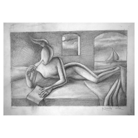 """Mark Kostabi Signed """"How Can I Tell You How Much l Love You"""" 11x14 Original Artwork at PristineAuction.com"""
