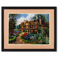 """Anatoly Metlan Signed """"Country Cottage"""" Limited Edition 32x26 Custom Framed Serigraph #26/480 at PristineAuction.com"""