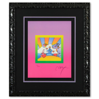 """Peter Max Signed """"Cosmic Runner on Blends Ver II"""" Limited Edition 24x28 Custom Framed Lithograph #446/500 at PristineAuction.com"""