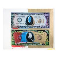 """Steve Kaufman Signed """"500 and 1000 Dollar Bills"""" Limited Edition 13x18 Hand Pulled Silkscreen Mixed Media on Canvas at PristineAuction.com"""