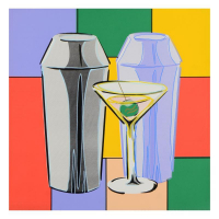 """Steve Kaufman Signed """"Martini"""" Hand Embellished Limited Edition 24x24 Hand Pulled Silkscreen on Canvas #17/50 at PristineAuction.com"""