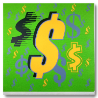 """Steve Kaufman Signed """"Dollar Sign (Green Italic)"""" Limited Edition 27x25 Hand Pulled Silkscreen Mixed Media on Canvas at PristineAuction.com"""