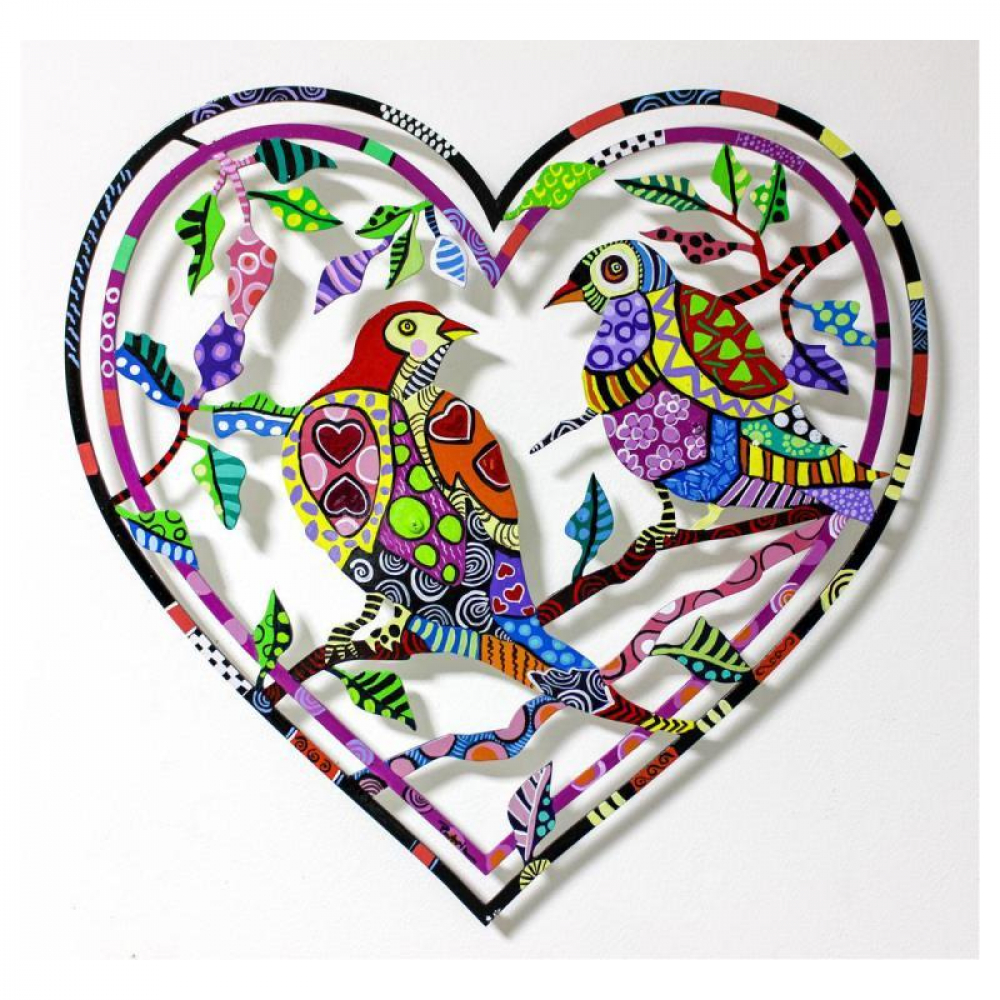 "Patricia Govezensky Signed ""Love Birds V"" 16x16 Original Painting on Laser Cut Steel at PristineAuction.com"