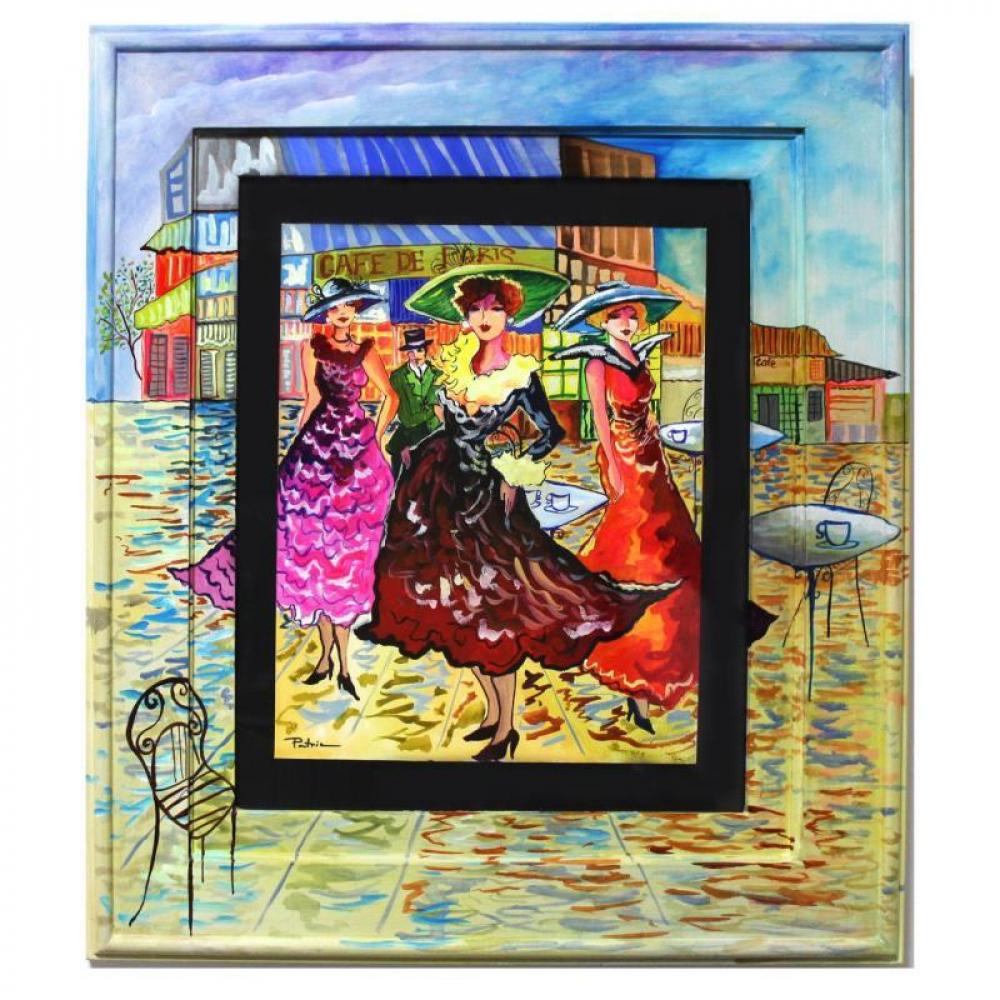 """Patricia Govezensky Signed """"Cafe De Paris"""" 24x21 Custom Framed Original Watercolor at PristineAuction.com"""