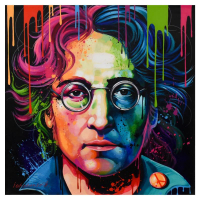 """Alexander Ischenko Signed """"John Lennon"""" 36x36 Original Acrylic Painting on Canvas at PristineAuction.com"""