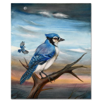 """Martin Katon Signed """"Bluejay Couple"""" 20x24 Original Oil Painting on Canvas at PristineAuction.com"""