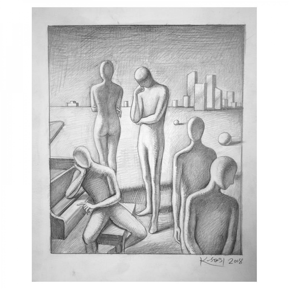 """Mark Kostabi Signed """"Prelude to the Afternoon of the Third Visitor"""" 13x11 Original Artwork at PristineAuction.com"""