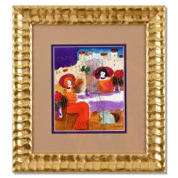Moshe Leider Signed 16x17 Custom Framed Original Mixed Media Watercolor Painting at PristineAuction.com