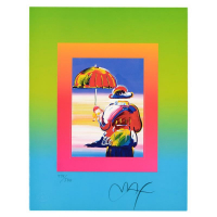 """Peter Max Signed """"Umbrella Man on Blends"""" Limited Edition 22x25 Custom Framed Lithograph #498/500 at PristineAuction.com"""