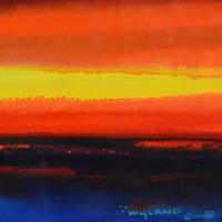 "Wyland Signed ""Ocean Flight"" 42x35 Custom Framed Original Watercolor Painting at PristineAuction.com"