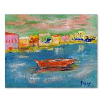 "Elliot Fallas Signed ""Harbor Vista"" 14x11 Original Oil Painting on Canvas at PristineAuction.com"