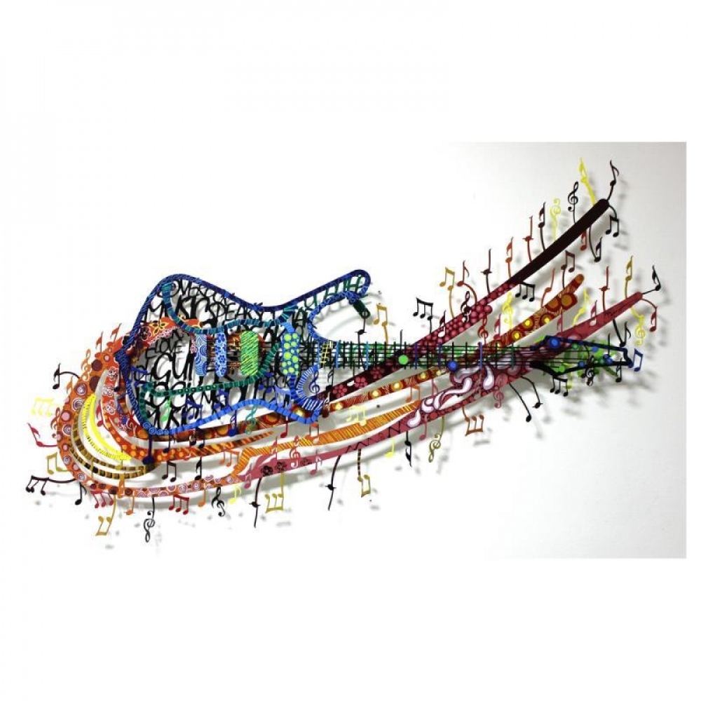 """Patricia Govezensky Signed """"Rock 'N' Roll"""" 30x51 Original Painting on Cutout Steel at PristineAuction.com"""
