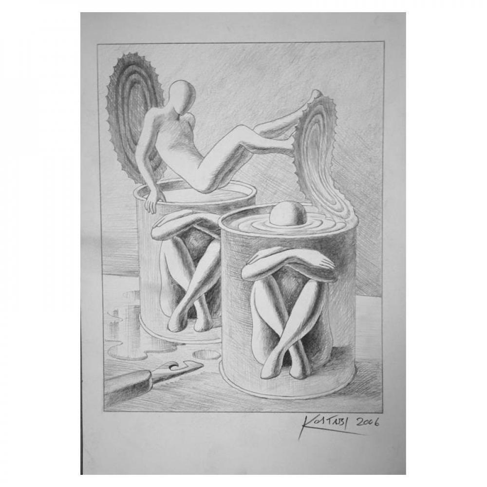 "Mark Kostabi Signed ""Soup's On"" 11x8 Original Artwork at PristineAuction.com"
