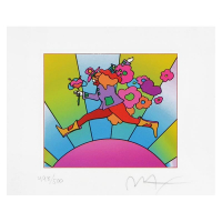 """Peter Max Signed """"Flower Jumper Over Sunrise Ver I"""" Limited Edition 20x19  Custom Framed Lithograph #498/500 at PristineAuction.com"""