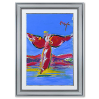 """Peter Max Signed """"Ascending Angel"""" 35x47 Custom Framed One-Of-A-Kind Acrylic Mixed Media at PristineAuction.com"""