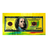"""Steve Kaufman Signed """"100 Dollar New Ben Bill"""" Limited Edition 21x42 Hand Pulled Silkscreen Mixed Media on Canvas at PristineAuction.com"""