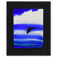 """Wyland Signed """"Kona Skies"""" 33x40 Custom Framed Original Watercolor Painting at PristineAuction.com"""