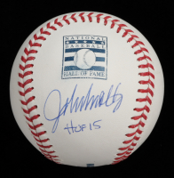 "John Smoltz Signed OML Hall of Fame Logo Baseball Inscribed ""HOF 15"" (JSA COA) at PristineAuction.com"