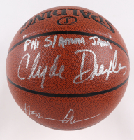 "Hakeem Olajuwon & Clyde Drexler Signed NBA Basketball Inscribed ""Phi Slama Jama"" (JSA COA) at PristineAuction.com"