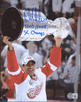 """Chris Chelios Signed Red Wings 8x10 Photo Inscribed """"2002, 2008 SC Champs"""" (Beckett Hologram) at PristineAuction.com"""