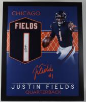Justin Fields Signed 35x43 Custom Framed Jersey Display (JSA Hologam) (See Description) at PristineAuction.com