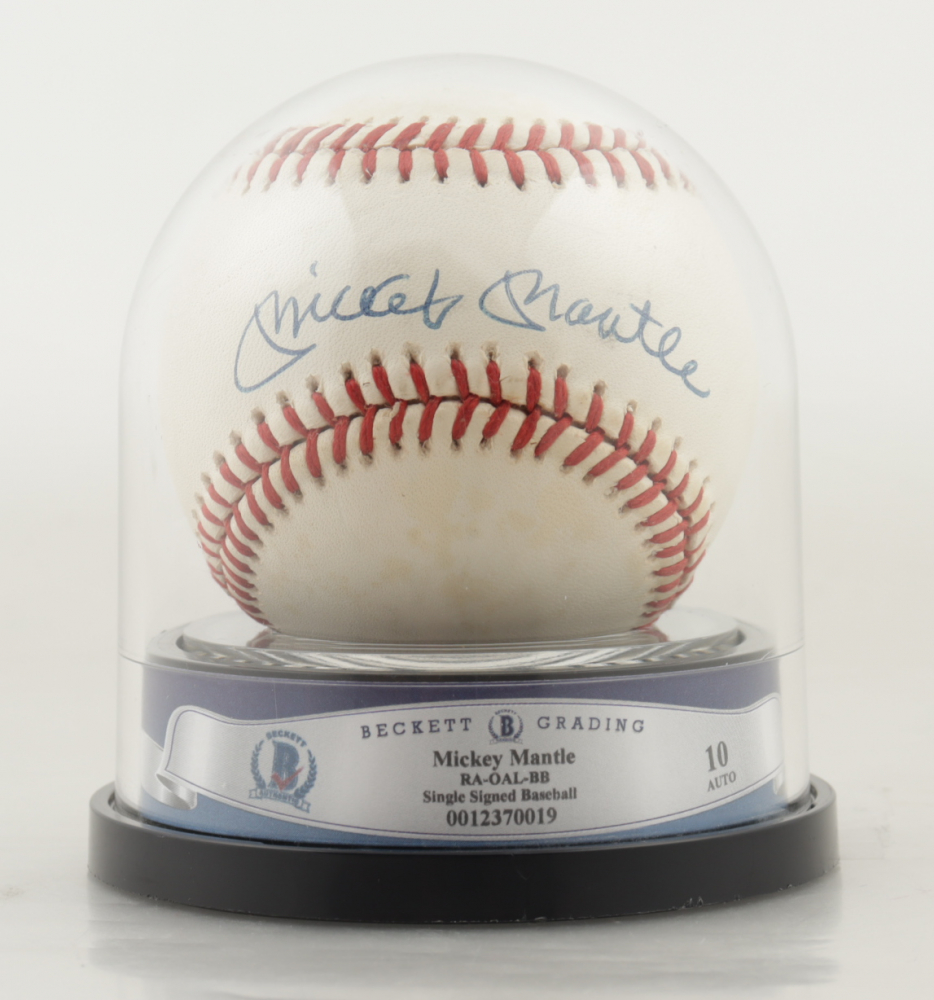 Mickey Mantle Signed OAL Baseball with High Quality Display Case (BGS Encapsulated) at PristineAuction.com