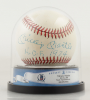 """Mickey Mantle Signed OAL Baseball Inscribed """"H.O.F. 1974"""" with High Quality Display Case (BGS Encapsulated) at PristineAuction.com"""