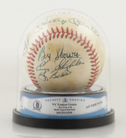 NY Yankee Great's Signed OAL Baseball with High Quality Display Case Signed By (11) Mickey Mantle, Yogi Berra, Hank Bauer, Andy Carey, Joe Collins (BGS Encapsulated) at PristineAuction.com