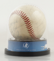 Dodgers 3rd WS Title Team Signed ONL Baseball with High Quality Display Case Signed By (29) Sandy Koufax, Don Drysdale, Wally Moon, Al Ferrara, John Roseboro (BGS Encapsulated) at PristineAuction.com