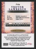 Trevor Lawrence 2021 SAGE HIT Autographs Black #A194 RC at PristineAuction.com
