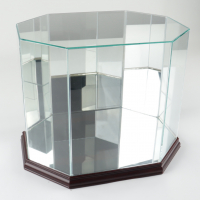 Premium Octagon Full-Size Helmet Display Case with Mirrored Back & Cherry Wood Base (See Description) at PristineAuction.com
