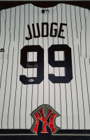 Aaron Judge Signed Yankees 33x44 Custom Framed Majestic Jersey Display with LED Lights (Beckett Hologram) at PristineAuction.com
