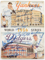 Vintage 1982 Official 1956 World Series Program Multi-Signed by (20) with Whitey Ford, Duke Snider, Enos Slaughter, Pee Wee Reese, Yogi Berra, Phil Rizzuto with Multiple Inscriptions (PSA LOA) (See Description) at PristineAuction.com