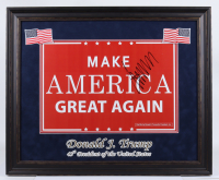 """Donald Trump Signed 23.5x28.5 Custom Framed Official 2016 """"Make America Great Again"""" Campaign Poster Display (JSA LOA) at PristineAuction.com"""