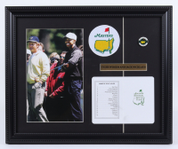 Tiger Woods & Jack Nicklaus Augusta National Golf Club 14x17 Custom Framed Photo Display with a Masters Patch and Official Scorecard at PristineAuction.com