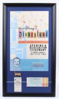 "Walt Disneyland ""Opening Dedication Ceremony"" 15x26 Custom Framed Print Display with Ticket Book, Free Parking Pass & Vintage Disneyland Lapel Pin at PristineAuction.com"